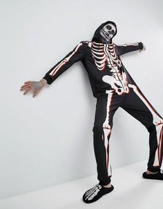 Комбинезон для Хэллоуина с принтом скелета SSDD - Черный