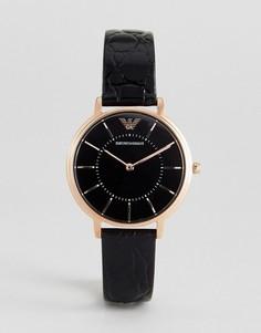Часы с черным кожаным ремешком Emporio Armani AR11064 - Черный