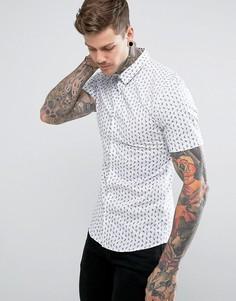 Белая обтягивающая рубашка с принтом пейсли River Island - Белый