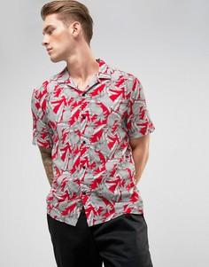 Красная рубашка с отложным воротником и принтом ананасов River Island - Красный