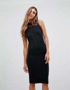 Фактурное трикотажное вечернее платье Y.A.S Cilla - Черный