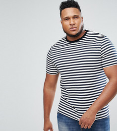 Сине-белая футболка в полоску ASOS PLUS - Темно-синий
