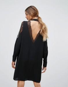 Платье с открытой спиной и кружевом Y.A.S Citru - Черный