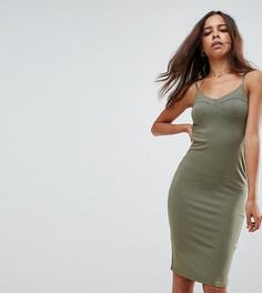 Облегающее платье миди на бретелях ASOS PETITE - Зеленый