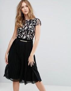 Платье миди с вышивкой Little Mistress - Черный