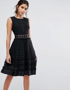 Платье со вставками и бахромой Ted Baker Olym - Черный