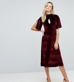 Бархатное платье миди ASOS TALL - Красный