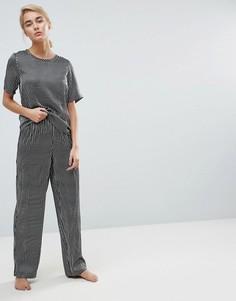 Монохромные атласные брюки с широкими штанинами и полосками ASOS - Мульти