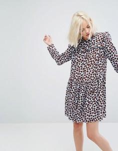 Платье мини с принтом и оборками Paul & Joe Sister - Синий
