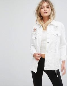 Джинсовая куртка с отделкой искусственным жемчугом River Island - Белый