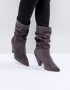 Замшевые полусапожки на каблуке ASOS CIANNA - Серый