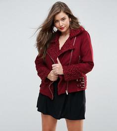 Куртка-авиатор с меховой отделкой Missguided Plus - Красный