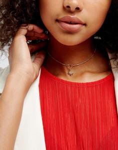 Тонкое ожерелье-чокер с подвеской в виде луны Liars & Lovers - Золотой