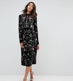 Бархатное платье-трапеция с вышивкой Frock And Frill Tall - Черный