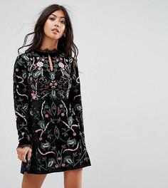 Бархатное премиум-платье с вышивкой Frock And Frill Petite - Черный