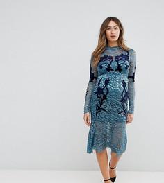 Кружевное платье с длинными рукавами и декоративной отделкой Hope & Ivy Maternity - Синий