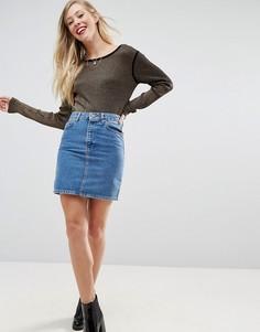 Синяя джинсовая юбка с завышенной талией ASOS - Синий