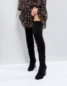 Ботфорты на блочном каблуке Boohoo - Черный