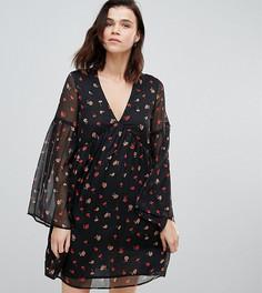 Свободное платье с расклешенными рукавами Influence Tall - Черный