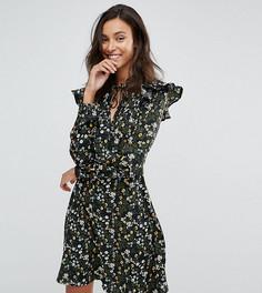 Платье с завязкой на шее и оборками Influence Tall - Черный