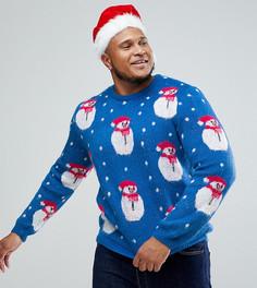 Джемпер с пушистым снеговиком ASOS PLUS Christmas - Мульти