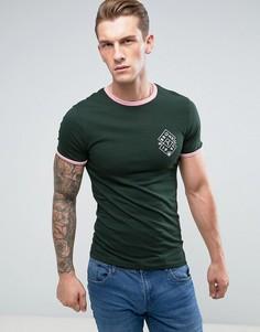 Зеленая обтягивающая футболка с окантовкой River Island - Черный