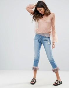 Укороченные джинсы с отделкой из искусственного меха River Island - Синий