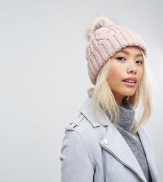 Розовая шапка-бини с вязкой косами и помпоном Stitch & Pieces - Розовый