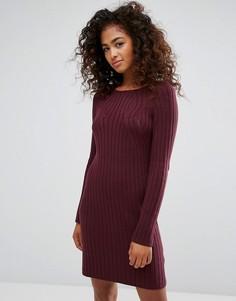 Трикотажное платье в рубчик Esprit - Красный