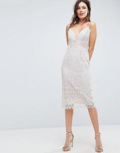 Кружевное платье-футляр миди на бретелях ASOS - Белый