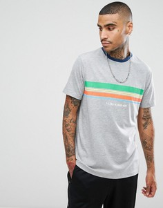 Свободная футболка в полоску с принтом ASOS - Серый