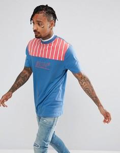 Длинная футболка в полоску с вышивкой ASOS - Синий