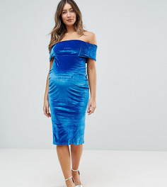 Бархатное облегающее платье миди с открытыми плечами и широким отворотом ASOS Maternity - Синий