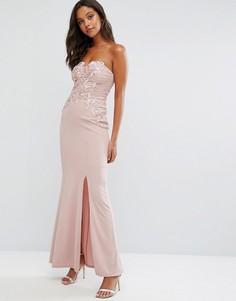 Платье макси бандо с кружевной аппликацией Lipsy - Розовый