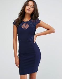 Платье мини с кружевными вставками и искусственным жемчугом Lipsy - Темно-синий