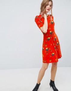 Чайное платье мини с присборенными плечами и принтом птиц ASOS - Мульти