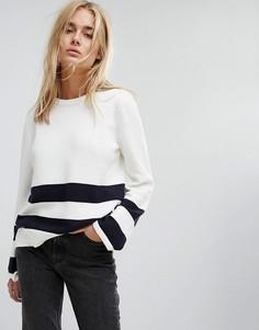 Джемпер с полосками и завязками на рукавах Noisy May - Белый
