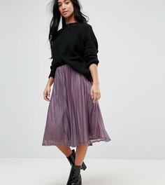 Плиссированная юбка миди с блестками Vero Moda Petite - Фиолетовый