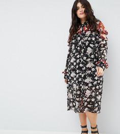 Платье миди с вырезами на плечах Boohoo Plus - Мульти