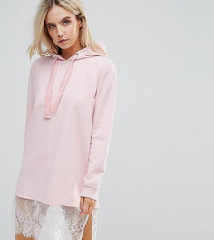 Трикотажное платье с кружевной отделкой Boohoo Petite - Розовый