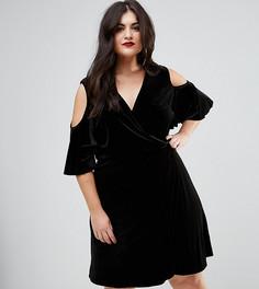 Бархатное платье с открытыми плечами и запахом Boohoo Plus - Черный