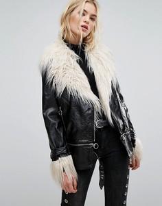 Удлиненная байкерская куртка из блестящего винила с искусственным мехом Neon Rose - Черный