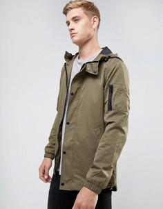 Куртка цвета хаки с капюшоном River Island - Зеленый