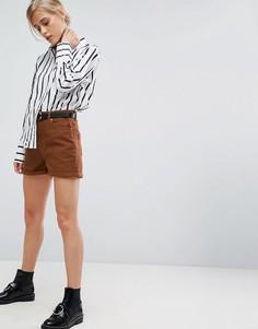 Парусиновые шорты с поясом ASOS - Коричневый