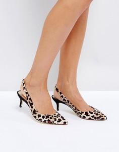 Туфли с леопардовым принтом и ремешком через пятку River Island - Мульти