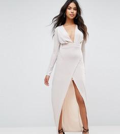 Платье макси с разрезом спереди Boohoo - Золотой