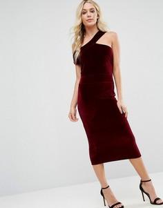 Платье-футляр из бархата Boohoo - Красный