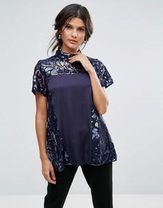 Блузка с высоким воротом, короткими рукавами и пайетками Closet - Синий