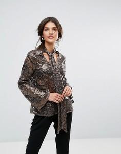Блузка с завязкой у ворота, длинными рукавами и пайетками Closet - Золотой