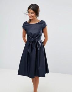 Платье с короткими рукавами и бантом Closet - Синий